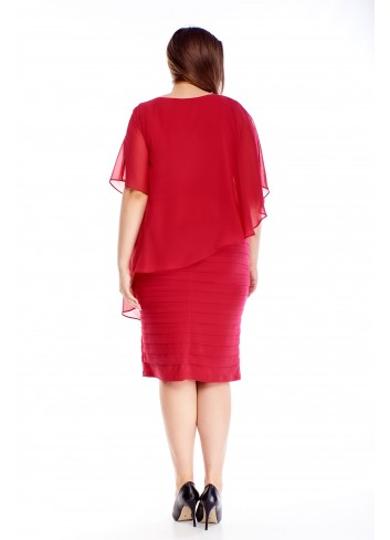 Sukienka midi z asymetryczną tiulową narzutką na wesele XXL
