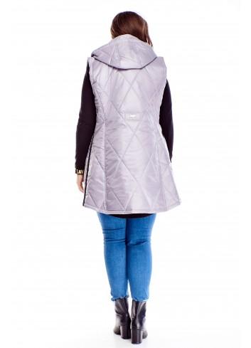Pikowana modna kamizelka z kapturem dla puszystych PLUS SIZE