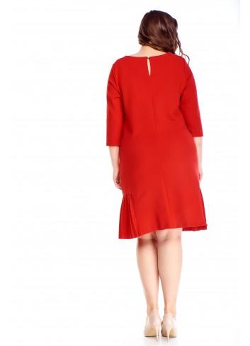 Trapezowa sukienka z ozdobnymi plisami duże rozmiary XXL