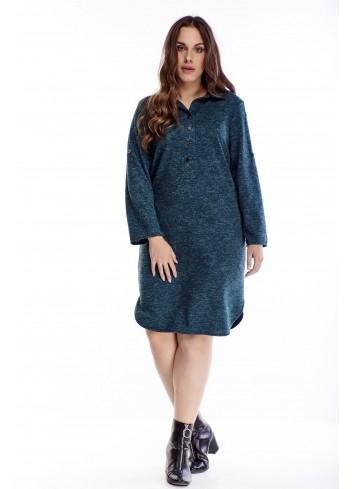 Melanżowa sukienka o koszulowym kroju dla puszystych XXL
