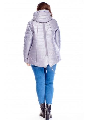 Pikowana ciepła kurtka z kapturem dla puszystych XXL