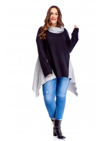 oversize'owy asymetryczny sweter z golfem