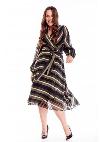 Kopertowa sukienka z tiulowymi rękawami zwiewna PLUS SIZE