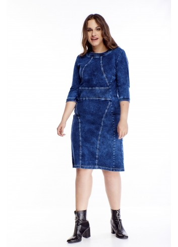 Bawełniana wygodna sukienka z rękawem 3/4 duże rozmiary