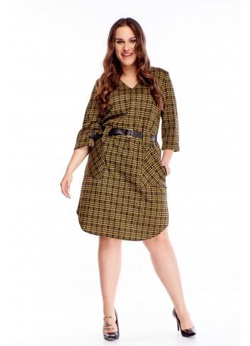 Wzorzysta sukienka z paskiem i kieszeniami na co dzień XXL
