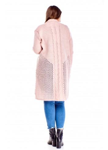 Długi delikatny sweter z ozdobnym luźnym splotem PLUS SIZE