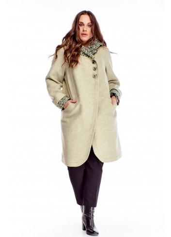 Wełniany ciepły długi płaszcz z kapturem i kieszeniami XXL