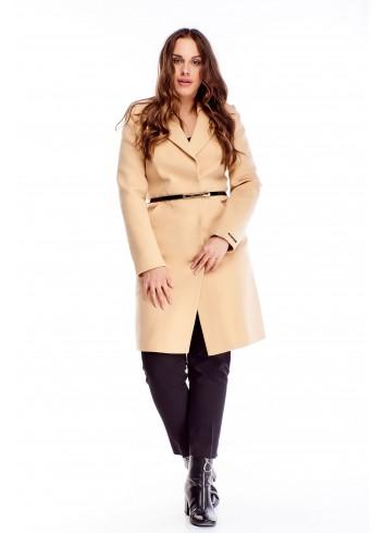 Klasyczny płaszcz o prostym kroju z paskiem w talii XXL