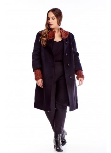 Wełniany ciepły płaszcz z łączonych materiałów duże rozmiary