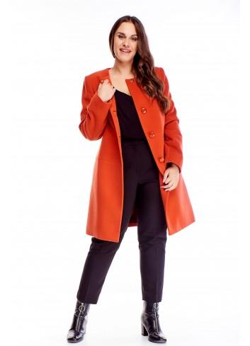 Kaszmirowy płaszcz z wiązaniem w pasie elegancki PLUS SIZE