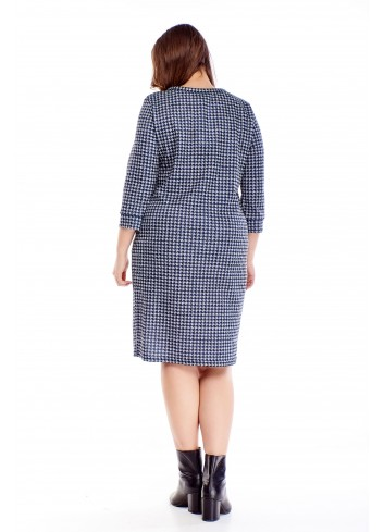 Bawełniana sukienka z wiązaniem przy szyi PLUS SIZE