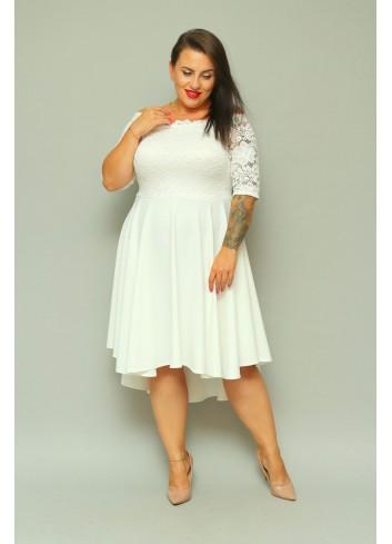 Sukienka Ślubna midi na wesele rozkloszowana Plus Size Gładka