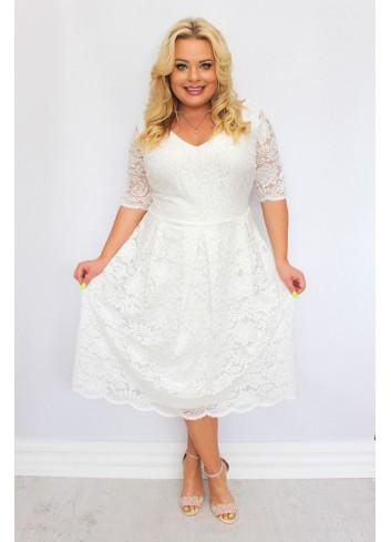 Sukienka ślubna midi koronkowa rozkloszowana na wesele kwiaty XL