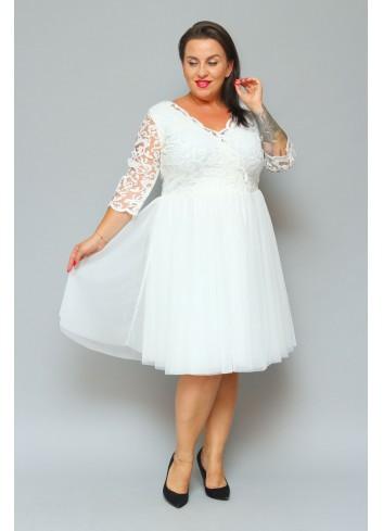 Ekskluzywna Sukienka Ślubna rozkloszowana z tiulu Plus Size Listki