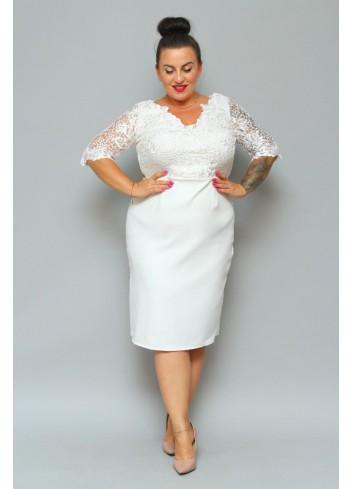 ELEGANCKA Sukienka Ślubna koronkowa cekiny kwiaty Plus Size