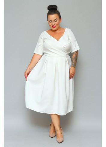 Sukienka Ślubna na wesele kontrafałdami Duży rozmiar XXL