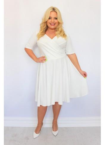 Sukienka Ślub midi wesele rozkloszowana GŁADKA Plus Size