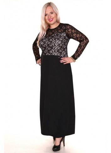 Wieczorowa elegancka sukienka maxi z koronkową górą XXL