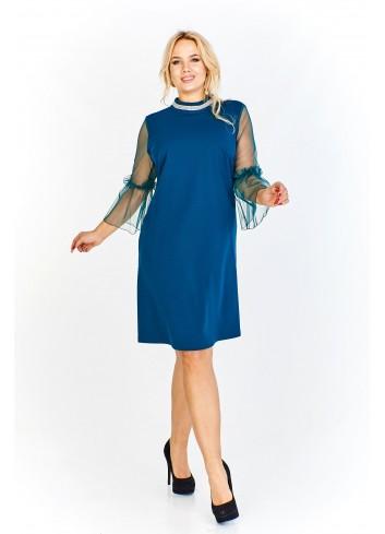 Pudełkowa sukienka z prześwitującymi rękawami z ozdobną a'la zaszewką na połowie i ozdobną taśmą