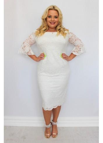 Sukienka ślubna ołówkowa koronkowa falbany Plus Size