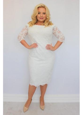 Sukienka ślubna ołówkowa koronkowa na wesele Plus size