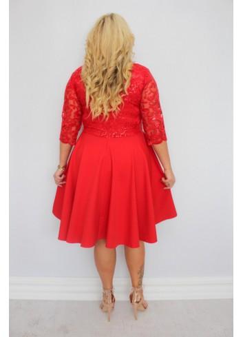 PROMOCJA -30% EKSKLUZYWNA Sukienka rozkloszowana cekiny listki Plus Size