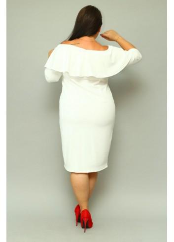 Sukienka ślubna ołówkowa hiszpanka z falbaną Plus Size