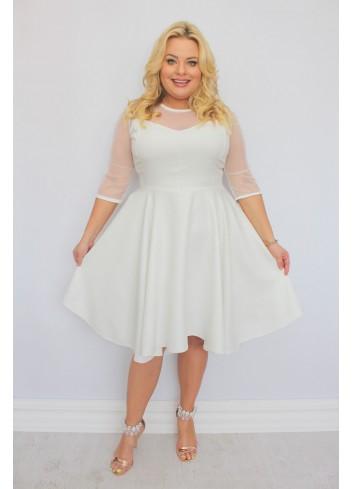 Sukienka na wesele rozkloszowana asymetryczna PLUS SIZE
