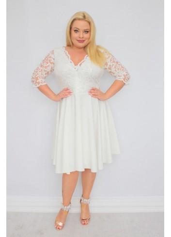 EKSKLUZYWNA Sukienka ślubna rozkloszowana cekiny listki Plus Size