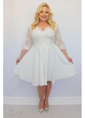 Sukienka ślubna rozkloszowana BOGATA koronka Cekiny