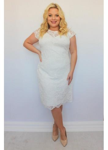 Elegancka sukienka ślubna trapezowa koronkowa z gipiurą Plus Size