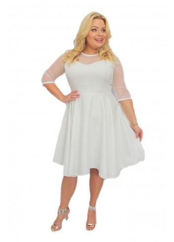 Sukienka ślubna rozkloszowana asymetryczna PLUS SIZE