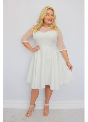 PROMOCJA -30% Sukienka na wesele rozkloszowana asymetryczna PLUS SIZE