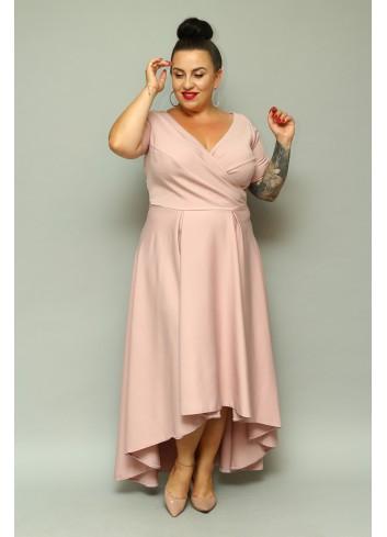 Sukienka maxi wieczorowa asymetryczna Plus Size