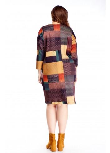 Sukienka w ciekawy wzór z kieszeniami na różne okazje XXL