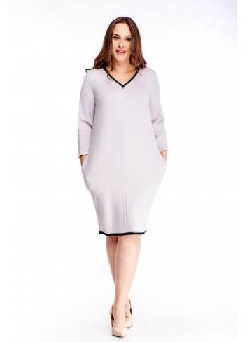 Dzianinowa sukienka z kieszeniami dla puszystych XXL