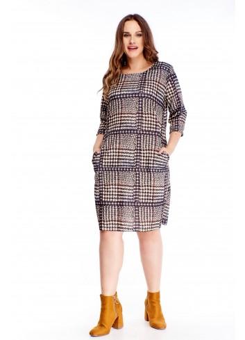 Wzorzysta sukienka z kieszeniami wygodna modna PLUS SIZE