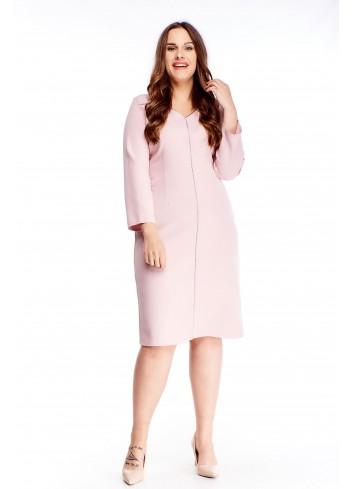Ołówkowa gładka sukienka z lamówką dla puszystej XXL