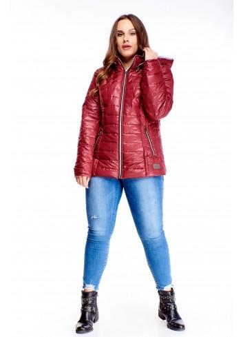 Ciepła pikowana kurtka z kapturem na zimę dla puszystej