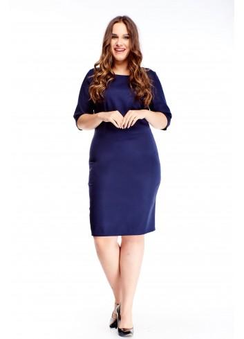 Klasyczna gładka sukienka z rękawem 3/4 duże rozmiary