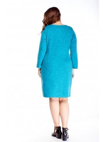 Melanżowa sukienka z kieszeniami uniwersalna dla puszystych
