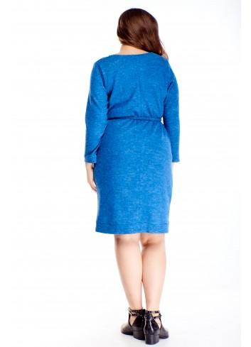 Melanżowa sukienka z wiązaniem w pasie modna wygodna XXL