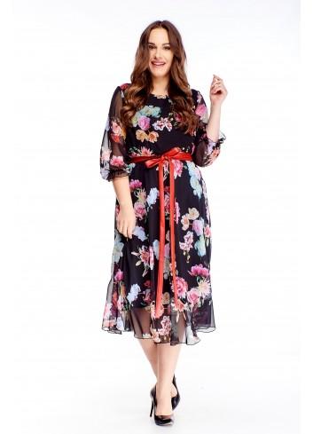Kobieca zwiewna sukienka z wiązaniem w pasie PLUS SIZE