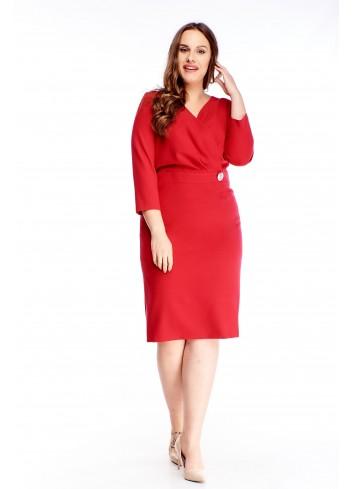 Sukienka z kopertowym dekoltem i rękawem 3/4 dla puszystej