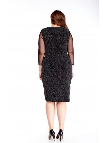 Elegancka zmysłowa sukienka z tiulowymi rękawami PLUS SIZE
