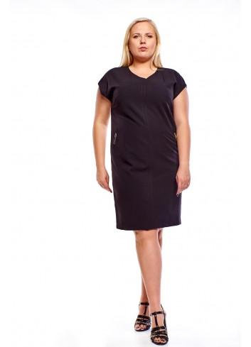 Sukienka o prostym kroju z dekoltem w serek Plus Size