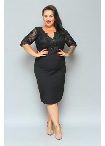 ELEGANCKA Sukienka koronkowa cekiny Plus Size