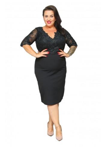 PROMOCJA -25% ELEGANCKA Sukienka koronkowa cekiny Plus Size