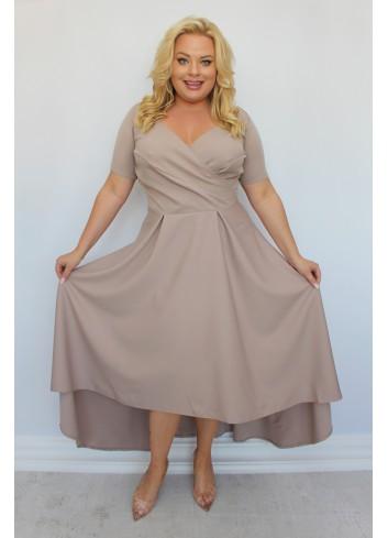 Promocja -25% Sukienka maxi wieczorowa asymetryczna Plus Size