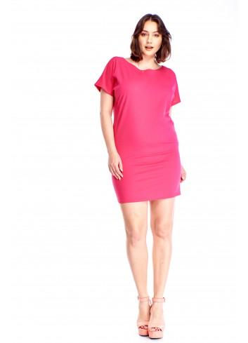 Monochromatyczna sukienka z krótkim rękawem Plus Size